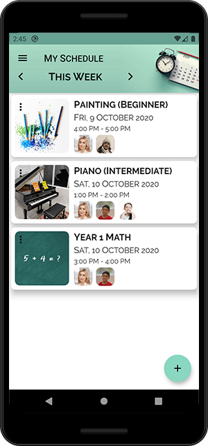 A screenshot of the Classnika app, showing the schedule of classes for a teacher or student