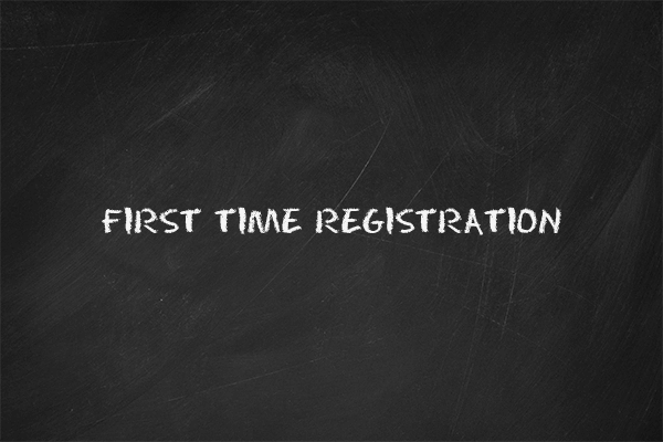 "The thumbnail image for the ""First Time Registration"" video tutorial"
